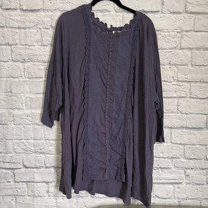 LOGO Lori Goldstein Purple Lace Tunic Top